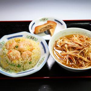 海老炒飯+ネギそばセット